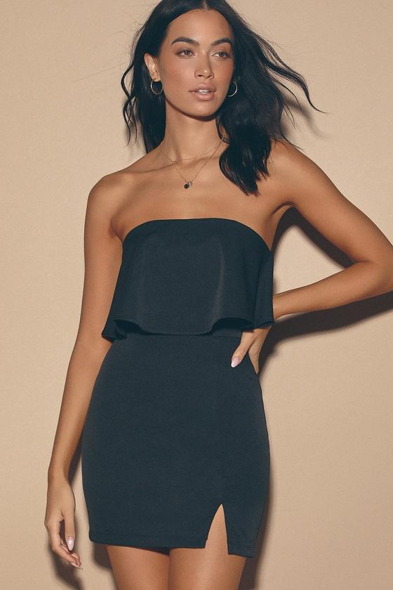Sexy Black Mini Dress - Bodycon Dress - Strapless Bodycon Dre