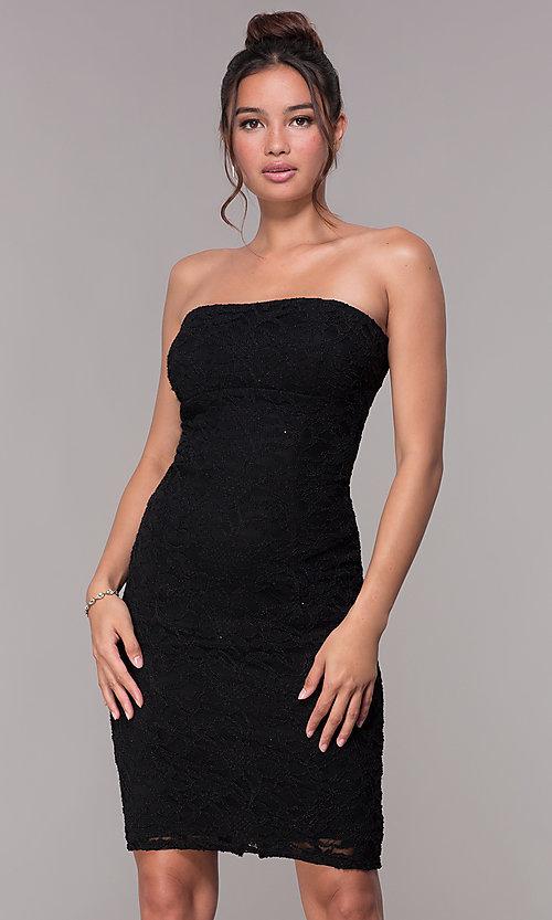 Black Short Strapless Lace Party Dress - PromGi