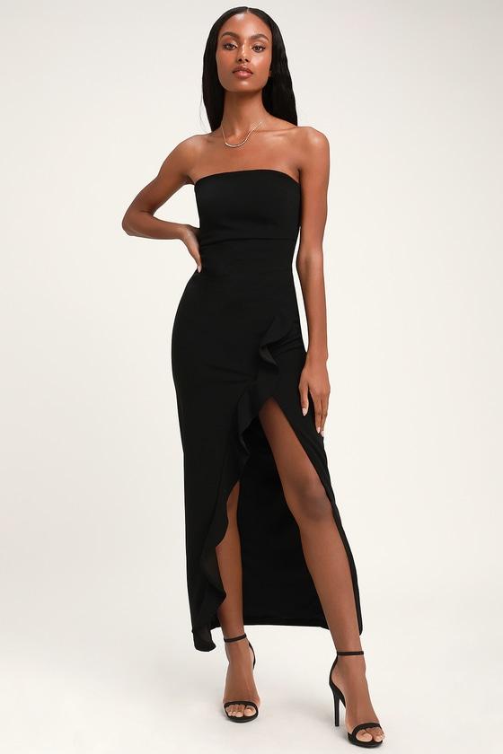 Sexy Black Maxi Dress - Strapless Maxi Dress - Mermaid Dre