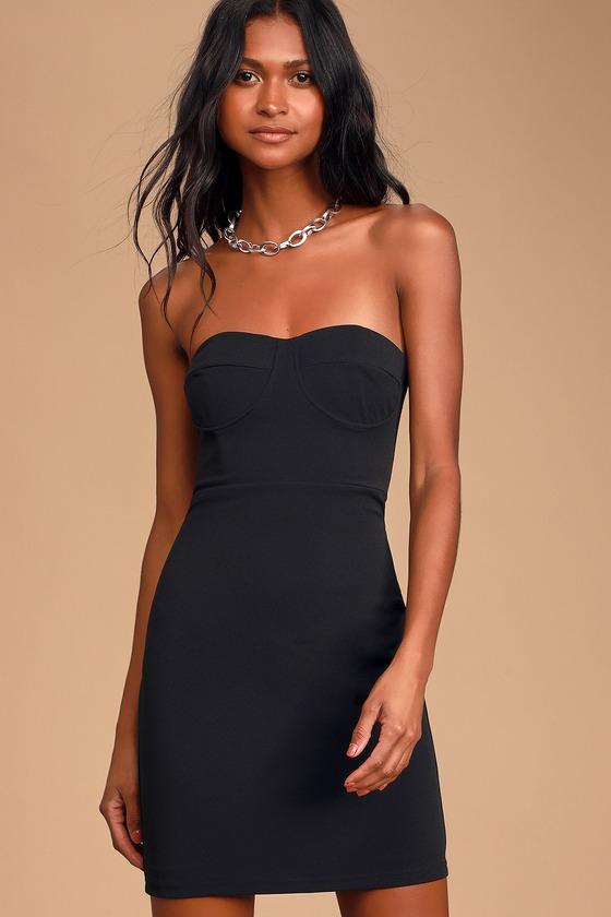 Sexy Black Dress - Bodycon Mini Dress - Strapless Dre