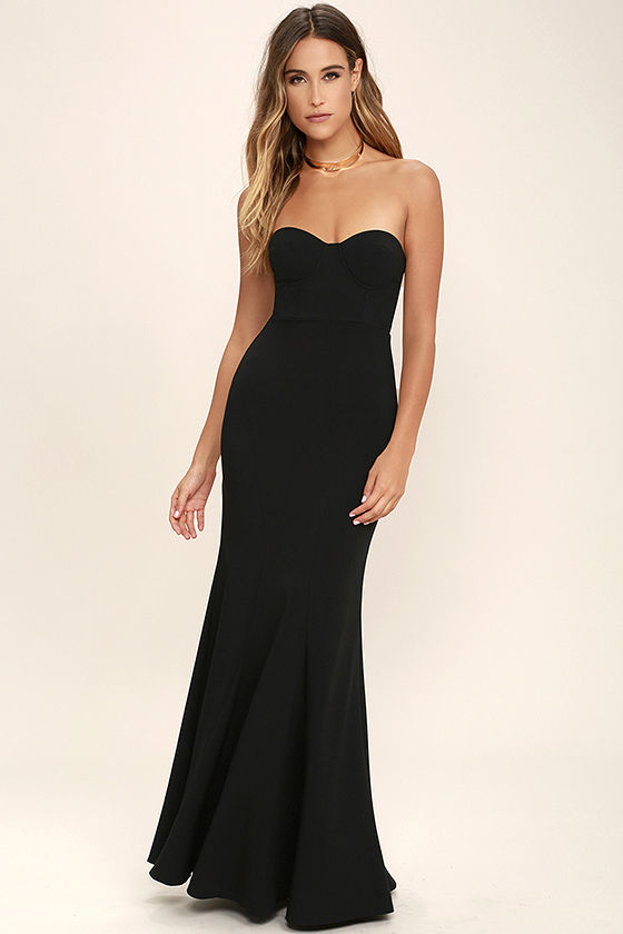 Lovely Black Dress - Maxi Dress - Strapless Dress - $84.