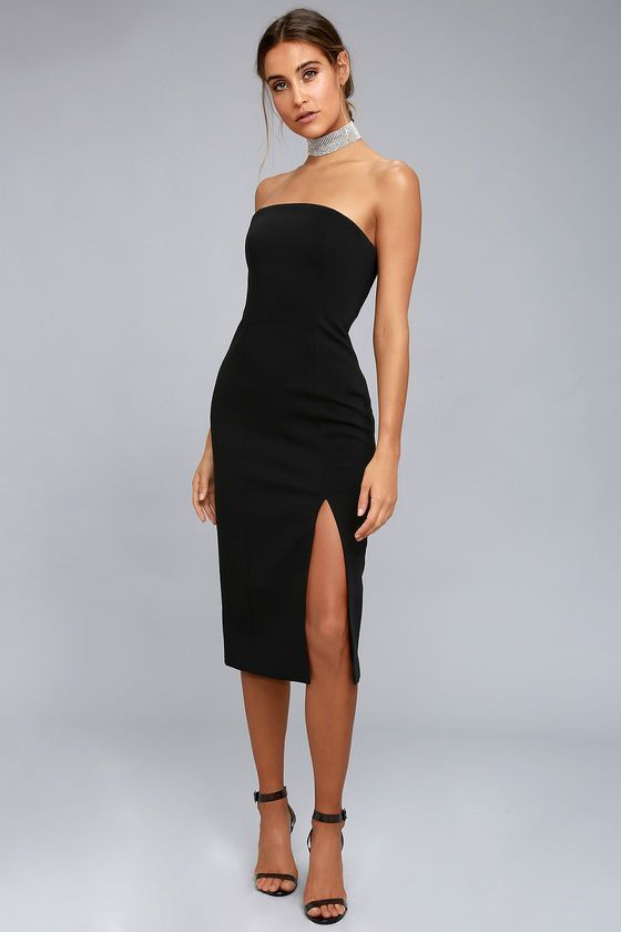Finders Keepers Lucie Black Strapless Midi Dress in 2020 .