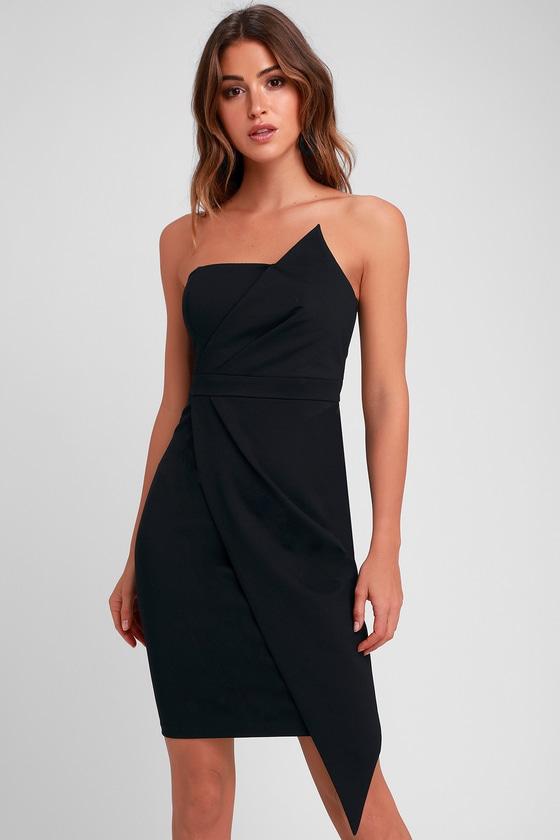 Sexy Black Dress - Strapless Dress - Bodycon Dress - L