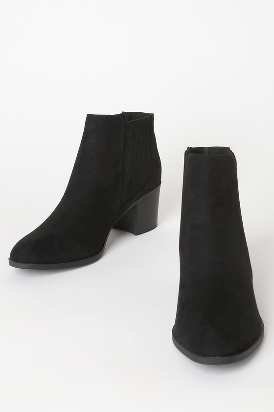 Chic Black Boots - Vegan Suede Booties - Ankle Booties - Booti