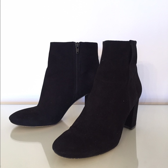 Nine West Shoes | Black Suede Ankle Boots 85 Chunky Heel | Poshma