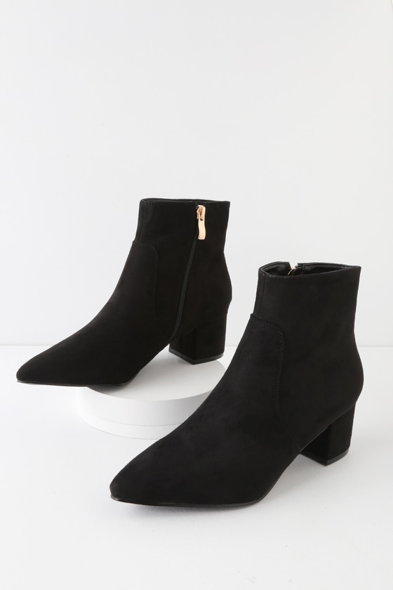 Chic Black Boots - Vegan Suede Boots - Pointed Toe Ankle Booti