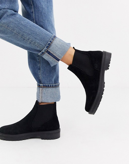 Office Archie black suede flat chelsea ankle boots | AS