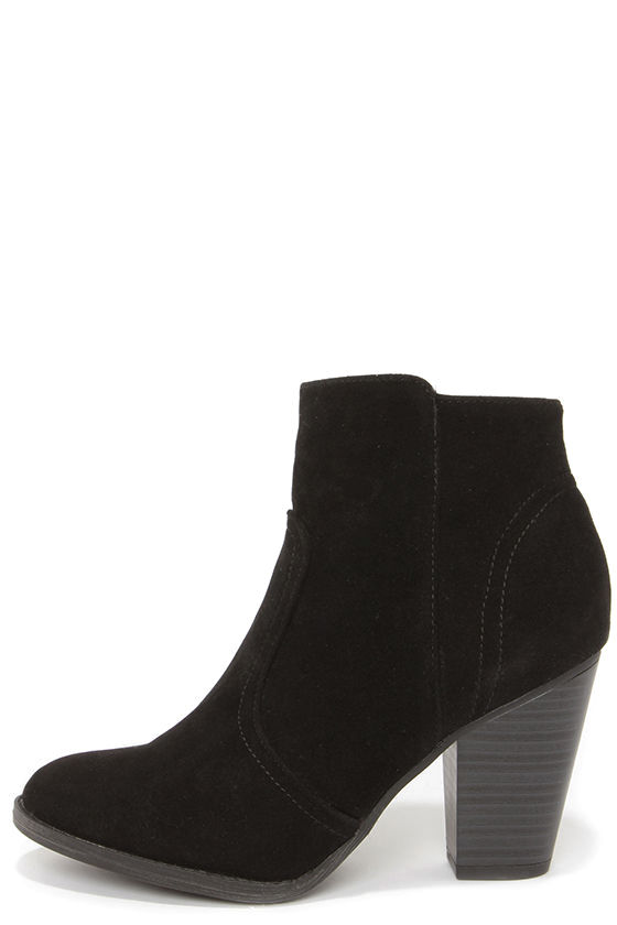 Cute Black Boots - Suede Boots - Ankle Boots - Booties - $34.