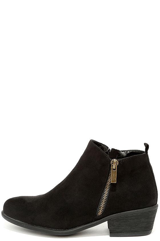 Cute Black Booties - Suede Booties - Ankle Booties - $34.