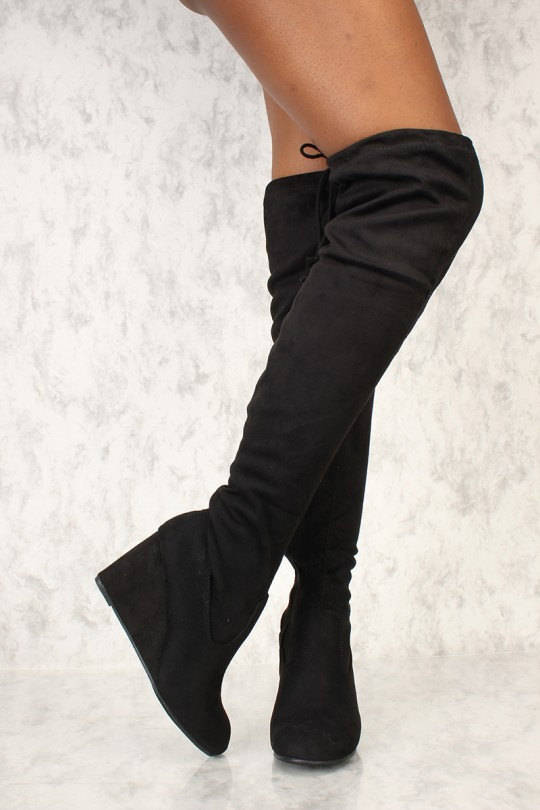 Sexy Black Thigh High Wedge Boots Faux Sue