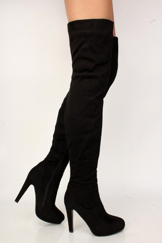 Sexy Black Platform Chunky High Heels Thigh High Boots Faux Sue