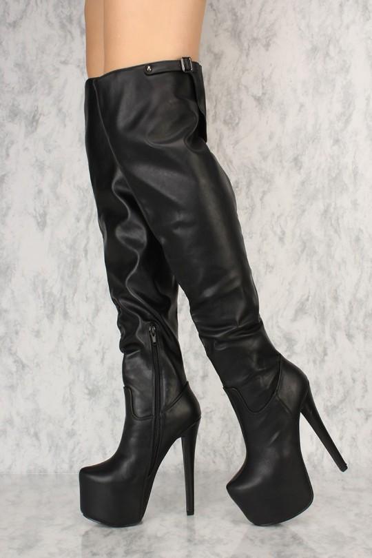 Black Thigh High Platform Boots Faux Leath
