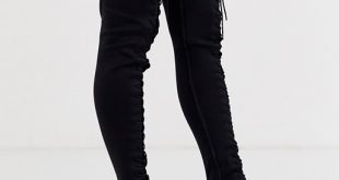 ASOS DESIGN Knowledge lace up thigh high boots in black   AS