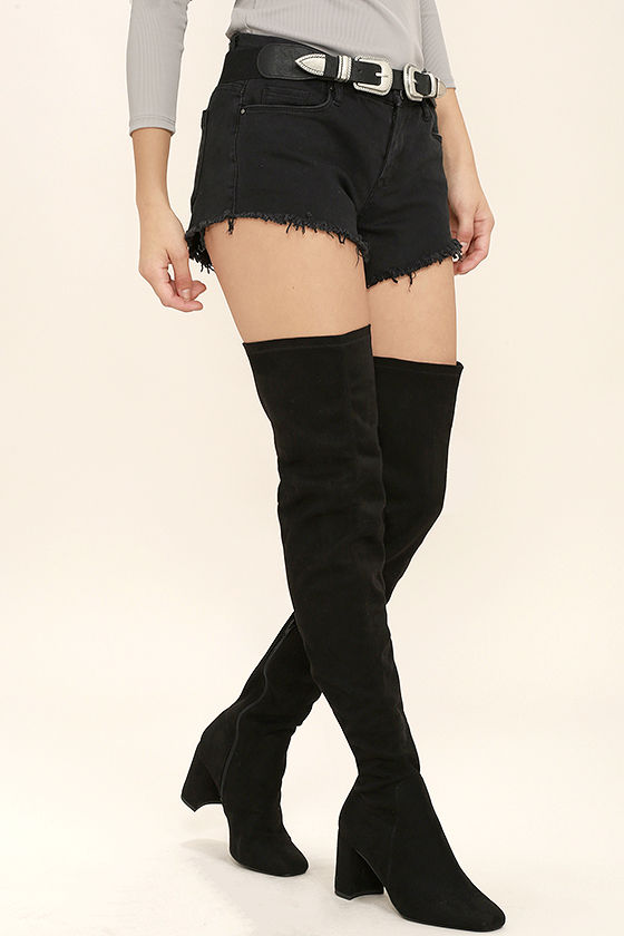 Sexy Black Boots - Thigh High Boots - Black Vegan Suede Boots - $39.