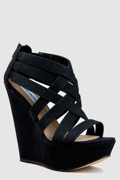 the PERFECT black wedges! I want these!!!! | Strappy wedge heels .