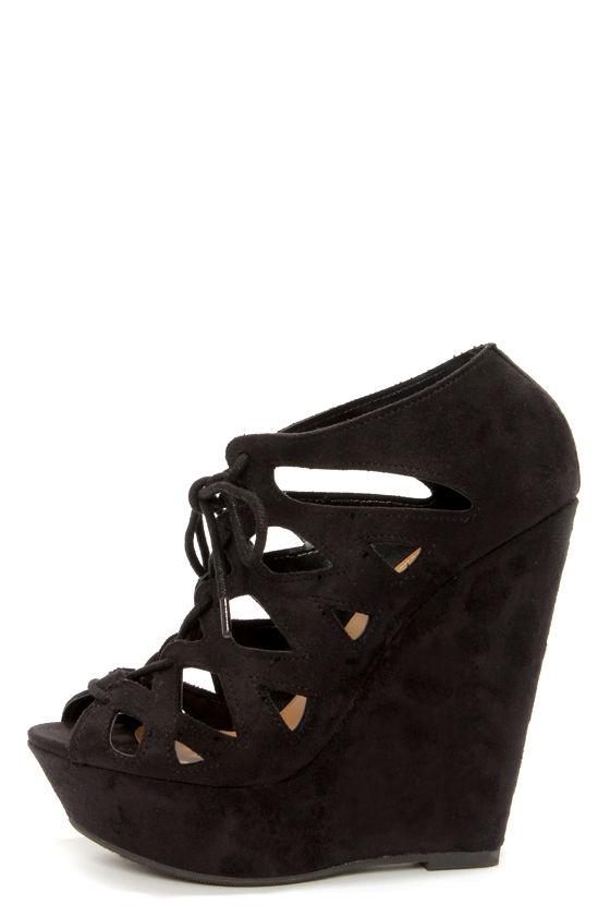 Cute Black Shoes - Black Wedges - Wedge Booties - $30.