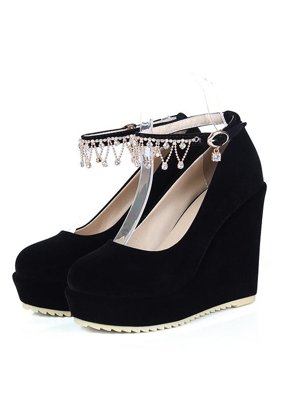 Black Round Toe Wedges Rhinestone Buckle Fashion Shoes - Wedges .