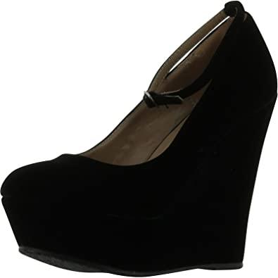 Amazon.com | Delicious Black Faux Suede Round Toe Ankle Strap .