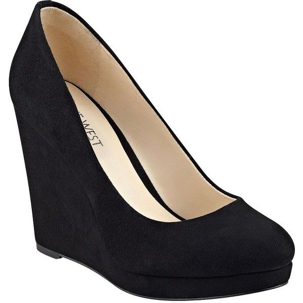 Nine West Halenia Suede Wedge Pumps ($71) ❤ liked on Polyvore .