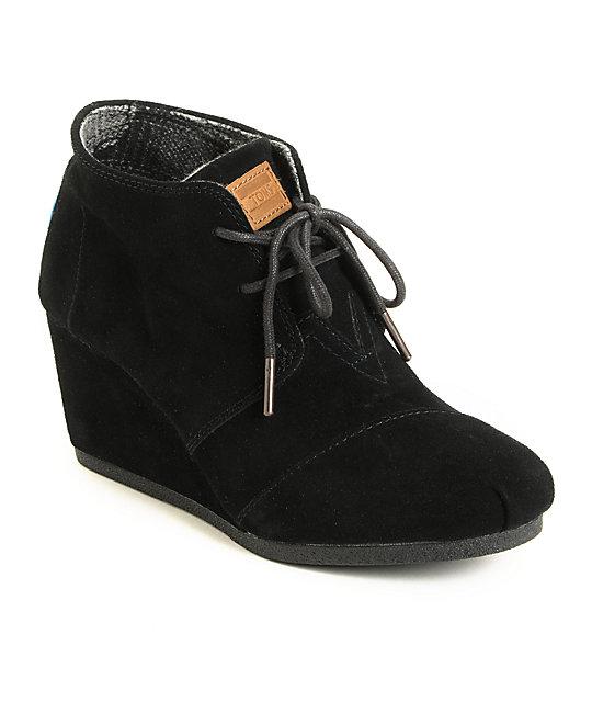 Toms Black Suede Desert Wedge Shoes | Zumi