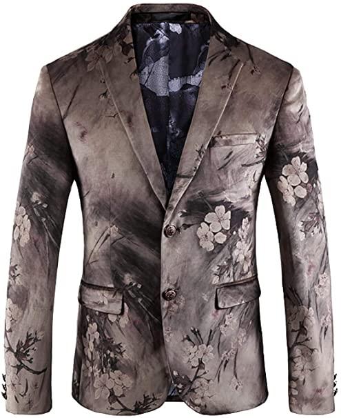 DGMJ Formal Dinner Jacket Men Stylish Floral Blazers for Men Slim .