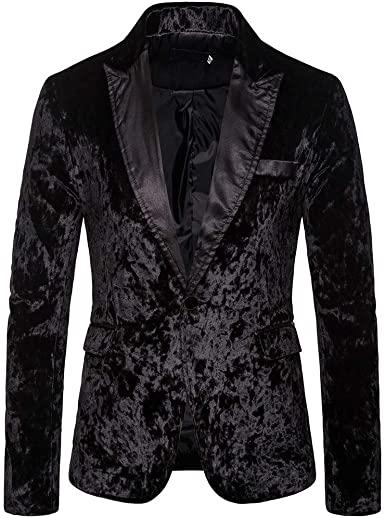 GREFER Fashion Blazers for Men Slim Fit Velvet One Button Sport .