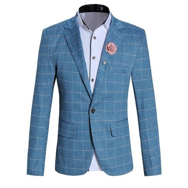 Mens Tight Windowpane Check Blazer - Sky Blue   White blazer men .