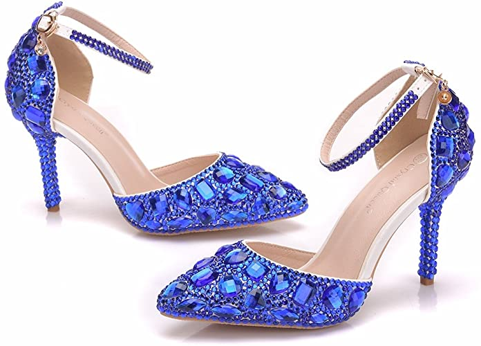 Amazon.com | Royal Blue Rhinestone Sandals Thin High Heels Pointed .