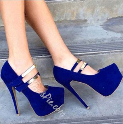 Gorgeous Blue Suede Platform High Heel Shoes with Double Ankle .