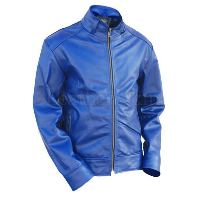 Blue Leather Jackets - Leather Skin Sh