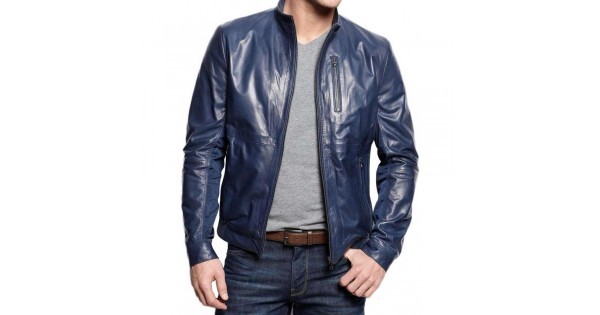 Mens Navy Blue Stylish Leather Jacket | Top Celebrity Jacke
