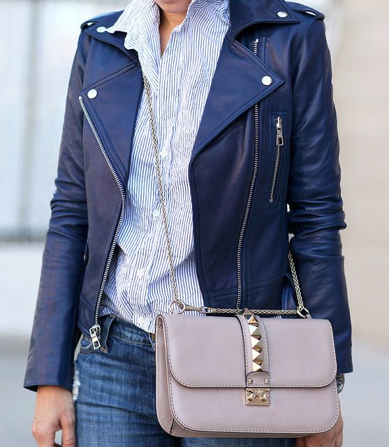 New Goodies | Leather jacket outfits, Leather jacket, Navy blue .