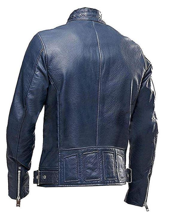 Cafe Racer Navy Blue Vintage Biker Leather Jacket – Leather Wond