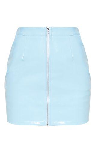 Baby Blue Vinyl Mini Skirt | Skirts | PrettyLittleThing U