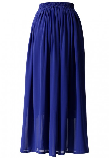Blue Pleated Maxi Skirt - Retro, Indie and Unique Fashi
