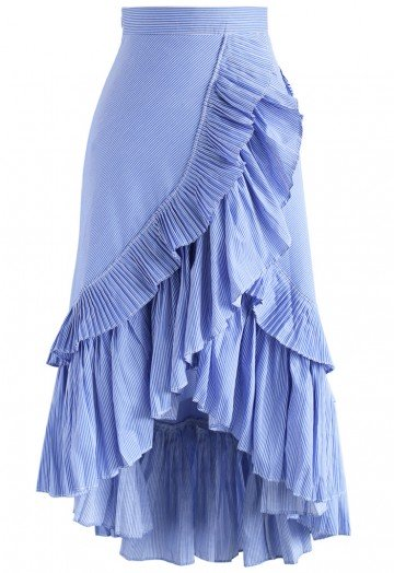 Applause of Ruffle Tiered Frill Hem Skirt in Blue Stripes - Retro .