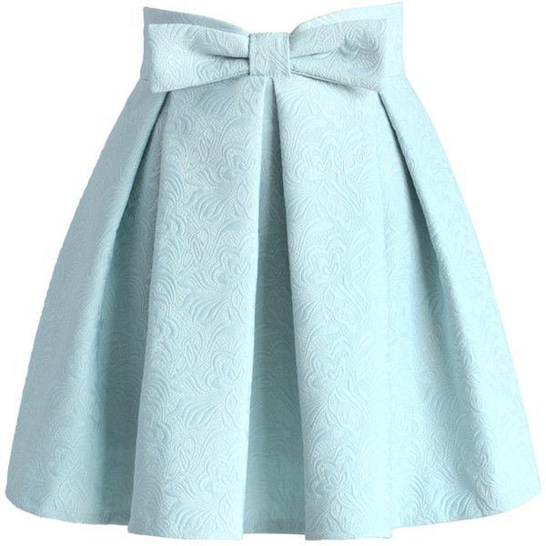 Chicwish Sweet Your Heart Jacquard Skirt in Pastel Blue ($42 .