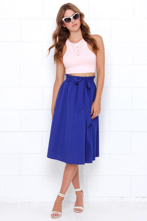 Pretty Royal Blue Skirt - Midi Skirt - $49.