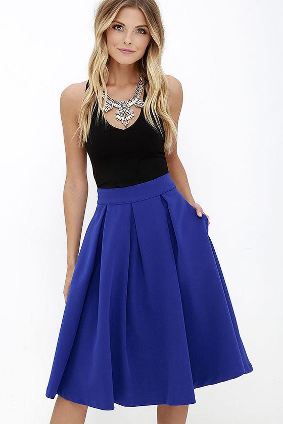 Lovely Royal Blue Skirt - Blue Midi Skirt - Pleated Midi Skirt .