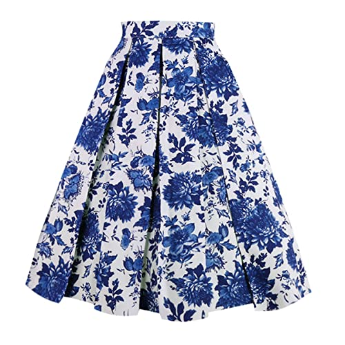 White and Blue Floral Skirts: Amazon.c
