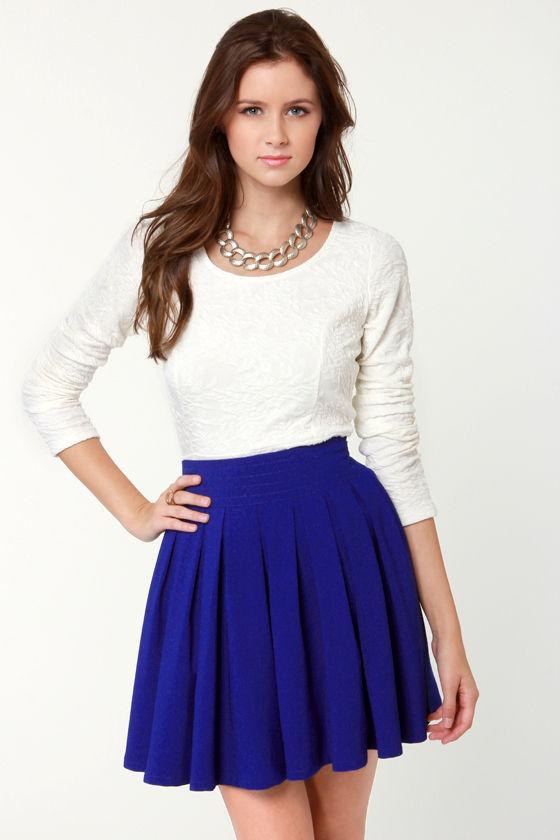 Lovely Royal Blue Skirt - Mini-Skirt - $39.