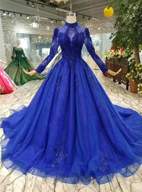 Royal Blue Tulle High Neck Long Sleeve Backless Wedding Dress With .