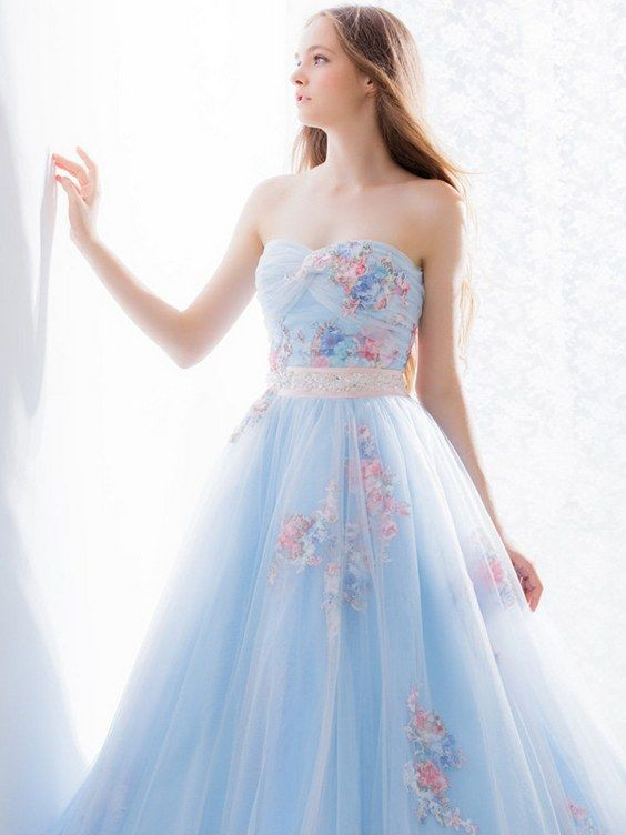 Light Blue and White Wedding Dresses spotted at Bridal Fashion .