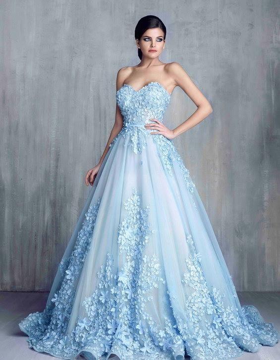 Light Blue Long Ball Gown Wedding Dresses, Sweetheart Wedding .