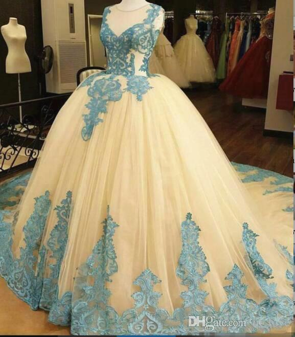 Baby Blue Lace Wedding Dresses Ball Gown Sheer Neck Sleeveless .