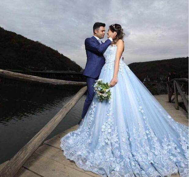 Elegant Light Sky Blue A Line Wedding Dresses Strapless Lace .