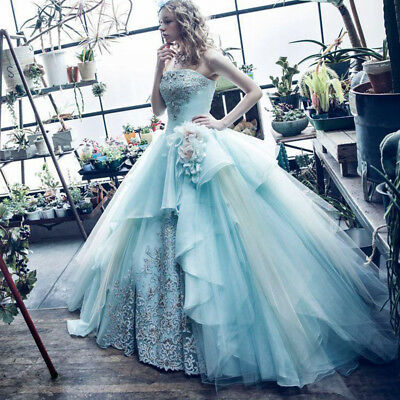 Baby Blue Princess Wedding Dresses Tulle Bridal Ball Gowns Lace .