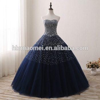2017 New Design Blue Color Bridal Wedding Gown Sequins And Diamond .