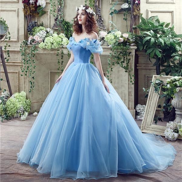 Organza With Flower Sweetheart Blue Wedding Dress Women's Dress | Wi