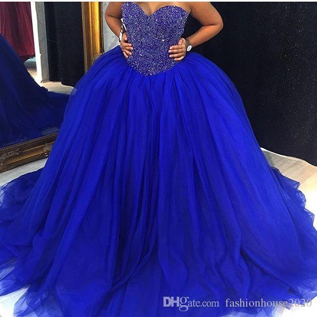 2020 New Cheap Royal Blue Puffy Tulle Ball Gown Wedding Dresses .